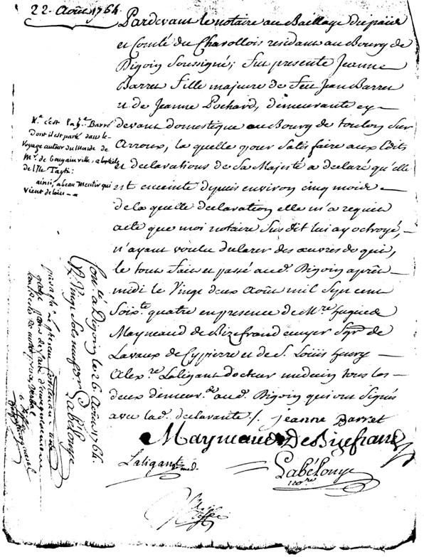 Declaration de grossesse Jeanne Barret 22-08-1764