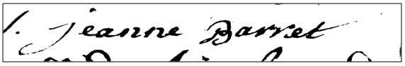 Signature - Déclaration de grossesse Jeanne Barret 22-08-1764