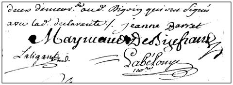 Signature et ecriture - Declaration de grossesse Jeanne Barret 22-08-1764